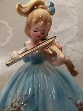 Josef Originals Girl Playing Violin Figurine Music Box Musical W Sticker Vintage