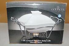 1 Qt. Godinger Silver Art Co. White Covered Porcelain Dish & Warmer Stand