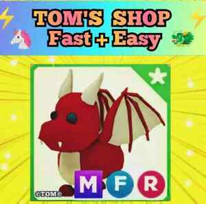 🐉 MEGA NEON DRAGON (MFR) 👌ADOPT ME Roblox With Fly Ride. Legendary red pet