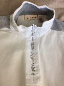 Mens DKNY Jeans White / Grey Jumper Cardigan 1/4 Zip Size SMALL MEDIUM