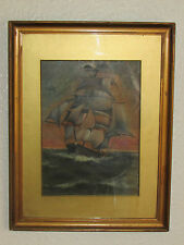 Antique Oil Painting On Board 'The Ship' Signed By J. Fielding Salebury - 1907