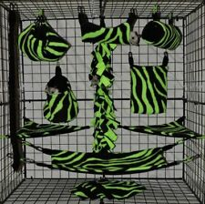 New listing Neon Green Zebra *15 Pc Sugar Glider Cage set * Rat * double layer Fleece