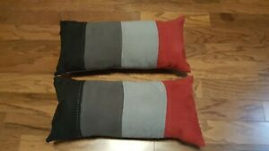 """2 rectangle black red gray throw bed pillows filled 19"""" X 9"""""""