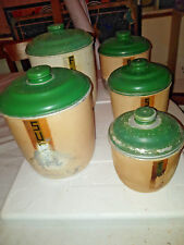 5 x VINTAGE ART DECO KITCHEN WARE SAGO COFFEE FLOUR SUGAR RICE