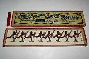 Vintage Lead Die Cast Figures Britain Africa's Savage Warriors Zulus Boxed 1906