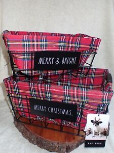 2 MERRY CHRISTMAS & MERRY & BRIGHT Rae Dunn Lined Nested Baskets NEW