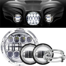 """7"""" Projector LED Headlight Passing Lights Fit Harley Road King Classic FLHRC H4"""