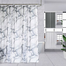 Thick Long Waterproof Shower Curtains Vinyl Fabric With Hooks Ring Grey White