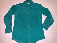 Vintage LL Bean Corduroy Button Down Shirt Mens Teal GREEN Small USA 100% cotton