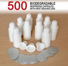 500 Empty Biodegradable Nespresso Coffee Capsules + Heat Sealing Lids