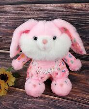 """Vintage Easter Bunny Rabbit Pink Plush Jelly Beans Lace Bib Bunny Slippers 12"""""""