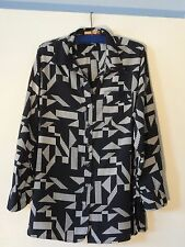 Ellen Tracy Blouse Misses L Poly Black White Pocket Lightweight MINT