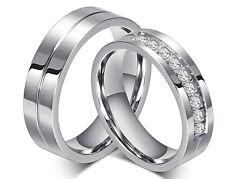Couple Set Rings Wedding Band White Titanium Stainless Steel ring Free Engraving