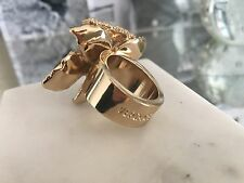 BRAND NEW! Versace for H&M Gold Colored Cocktail flower Ring with Rhinestones.