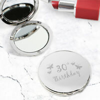 Birthday Age Engraved Silver Compact Round Mirrors - Gift For Her Make Up Mirror