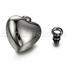 Womens Stainless Steel Simple Polish Openable Charm Heart Pendant Necklace Chain