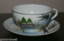 BAMBOO, MILL AND MT FUJI TRIM FULL SIZE GEISHA LITHOPHANE CUP AND SAUCER
