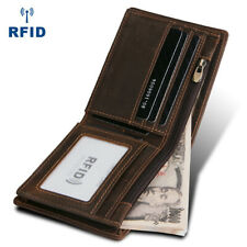 Men's Wallet Genuine Crazy Horse Leather Purse RFID Blocking Handmade Bifold