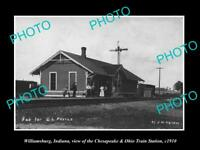 OLD LARGE HISTORIC PHOTO OF WILLIAMSBURG INDIANA, THE RAILROAD DEPOT c1910