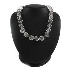 "QVC Suarti Necklace Sterling Silver Square Cube Bead 225.00 ct Clear Quartz 18"""