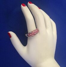 STUNNING SILVER PLATED VINTAGE PINK DIAMANTES CLUSTER RING - SIZE O 1/2 (7.5)