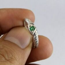 Art Deco Emerald Band For Women, 925 Sterling Silver Green Gemstone Ring Band