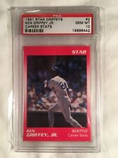 "1991 STAR KEN GRIFFEY JR ""CAREER STATS"" BASEBALL CARD #2 GRADED PSA 10 GEM MINT"