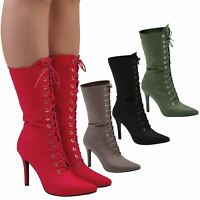 Keri Womens High Stiletto Heels Zip Lace Up Mid Calf Boots Ladies Shoes Size New