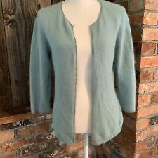 Fuzzy 58% Angora Sweater Hillard & Hanson Light Blue Womens Medium Cardigan