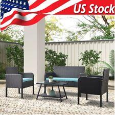 Outdoor Brown Wicker Rattan Patio Lawn Sofa Furniture Set W/ Cushions 4 Pcs