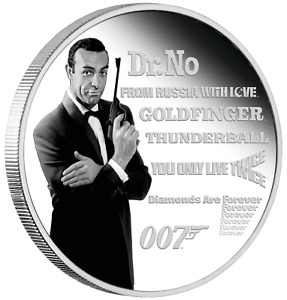 JAMES BOND LEGACY SERIES 1st ISSUE 2021 1oz SILVER PROOF COLOURED $1 dollar COIN