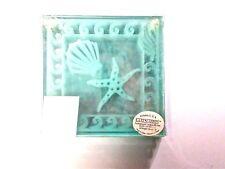 Kate Aspen Green Glass Coasters Set of 4 Sea Shell & Starfish
