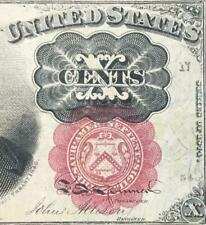 "1874 Us Fractional Currency ""Ten Cents"" Us Currency! Choice Crisp Vf Details!"