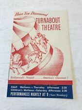 Vintage Brochure Hollywood California Turnabout Theatre