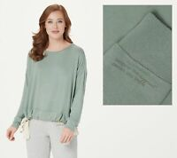 Peace Love World Comfy Knit Top with Drawstring Hem Detail (Green, S) A376629