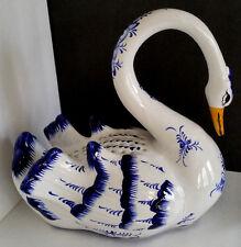 Vintage REEL Ceramic Portugal MAJOLICA Handpainted Swan Sculpture Figurine