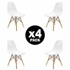 4x sedie da pranzo bianche sedie Eiffel DSW con gambe in legno di faggio