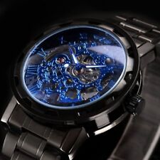 Classic Men's Watch Transparent Steampunk Skeleton Mechanical Stainless Steel AU