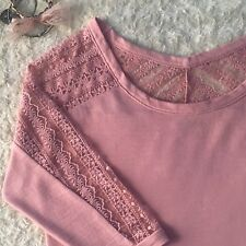 AEO Dusty Rose Pink Blush Lace Embroided Shoulder 3/4 Sleeve Cotton Blend Top