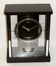 BULOVA MANTEL CLOCK- THE MERCER,BLACK WALNUT FINISH WESTMINSTER CHIMES B1717