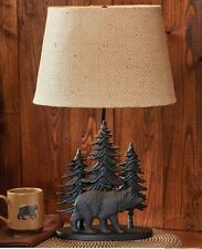 Black Bear Decor Log Cabin Table Lamps For Living Room Rustic And Lodge w/Shade