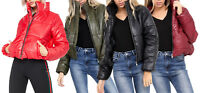Womens Cropped Puffer Jacket Girls Padded Wet Look Short Bubble School Jacket BN