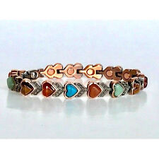 """LADIES 7"""" COPPER HEARTS with  STONES MAGNETIC  BRACELET  NWT 5397"""