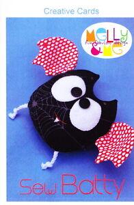 PATTERN - Sew Batty - fun bat softie toy mini PATTERN - Creative Card