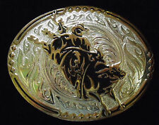 CRUMRINE LARGE PEACEMAKER ENGRAVABLE WESTERN BELT BUCKLE