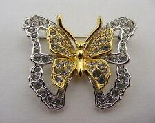 Nolan Miller Gold Tone Butterfly Pin Brooch Crystal Rhinestones