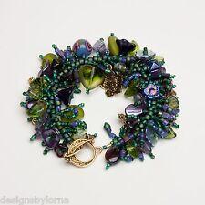 """Bracelet Kit """"Abloom in Plum"""" Purple & Green glass flower beads.  Fringe Magic"""