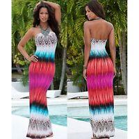 Summer Womens Boho Floral Evening Party Long Maxi Dress Beach Dresses Sundress