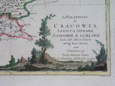 1784 MAPA POLSKI POLEN POLAND Kraków Krakau Radom Kielce Łódź Nowy Sącz Lublin