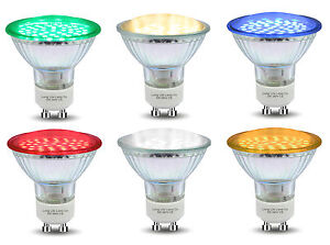 Red Blue Green Yellow GU10 LED Colour LED Light Bulbs Lamp Coloured LEDs